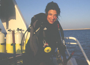 Claudia after an enjoyable dive on a Liveaboard